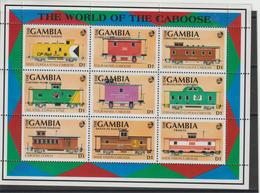Gambie 1991 Trains Série 1035-43 9 Val ** MNH - Gambie (1965-...)