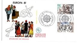 France FDC Europa La Sardane Bourree Croisee Floklore De France Musique Danse Paris 1981 - FDC