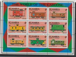 Gambie 1992 Trains Série 1120-28 9 Val ** MNH - Gambie (1965-...)