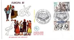 France FDC Europa La Sardane Bourree Croisee Floklore De France Musique Danse Conseil De L'europe Starsbourg 1981 - FDC