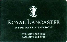 Hotel Keycard, Royal Lancaster Hotel Hyde Park London, UK - Cartes D'hotel