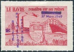 France 1949 Le Havre Philatelic Society Steamship Bateau Navire Dampfer Plane Avion Blason Coat Of Arms Vignette Poster - Stamp's Day