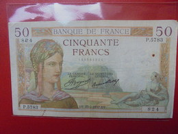 FRANCE 50 FRANCS 1937 ALPHABET P CIRCULER (B.4) - 1871-1952 Frühe Francs Des 20. Jh.