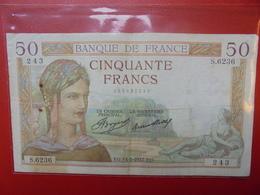FRANCE 50 FRANCS 1937 ALPHABET S CIRCULER (B.4) - 1871-1952 Frühe Francs Des 20. Jh.