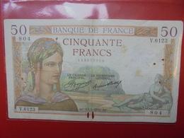 FRANCE 50 FRANCS 1937 ALPHABET V CIRCULER (B.4) - 50 F 1934-1940 ''Cérès''