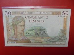 FRANCE 50 FRANCS 1938 ALPHABET E CIRCULER (B.4) - 1871-1952 Frühe Francs Des 20. Jh.