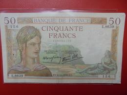 FRANCE 50 FRANCS 1938 ALPHABET E CIRCULER (B.4) - 1871-1952 Circulated During XXth