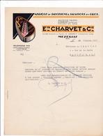 01-Charvet & Cie ..Fabrique De Saucissons & Salaisons, Conserves En Gros...Mézériat...(Ain)..1937 - Food