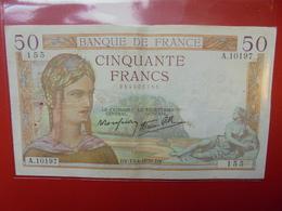 FRANCE 50 FRANCS 1939 ALPHABET A CIRCULER (B.4) - 1871-1952 Frühe Francs Des 20. Jh.