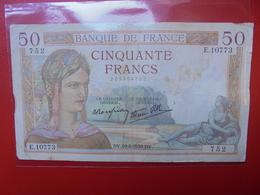 FRANCE 50 FRANCS 1939 ALPHABET E CIRCULER (B.4) - 1871-1952 Frühe Francs Des 20. Jh.