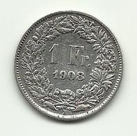1908 - Svizzera 1 Franc - Svizzera