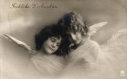 Weihnachten, Engel, Foto-AK, 1910 In Rüdesheim Am Rhein Versandt - Noël