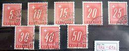 Schweiz Suisse 1938: Portomarken Timbres Taxe Zu 54z-61z (geriffelt Grillé) Mit Eck-o, Z.T. CHÂTEAU D'OEX (Zu CHF 30.00) - Postage Due