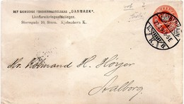 Denmark,1897,det Gjensidige Forsikringsselskab Denmark,cancel:Kjobenhavn,22,03.1897 To Aalborg,23.03.1897,used As Scan - Covers & Documents