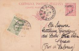 1919 FIUME Cartolina Postale Leoni C.10 Mill 18 Sopr Fiume/cent . Di Cor.  Con Fr.llo Aggiunto C.5 Fiume (13.9) - 8. Ocupación 1ra Guerra