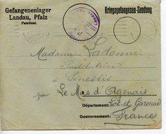 WW1 CAMP DE PRISONNIERS DE LANDAU 1916 LETTRES ET ENVELOPPE D'UN PRISONNIER A SA FAMILLE LE MAS D'AGENAIS - Documents