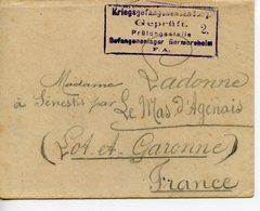 WW1 CAMP DE PRISONNIERS DE GERMERSHEIM 1916 LETTRE ET ENVELOPPE D'UN PRISONNIER A SA FAMILLE LE MAS D'AGENAIS - Documents