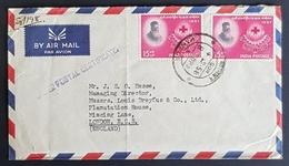 1958 Cover, Kanpur India - London England, Swadeshi Cotton Mills Co. - 1950-59 République