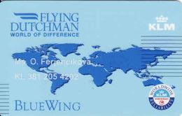 Netherland KLM Magnetic Card Flying Dutchman, Blue Wing, Reservations - Moteurs