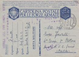 1941 SCUOLAALL UFF COMPL RIETI Lineare E Manoscritto Su Cartolina Franchigia Posta Militare N 3300 (18.2) - Marcophilia