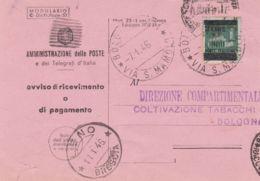 1946 MODULO Avviso Ricevimento Con Stemma Luogotenenziale Ricoperto Con Barre Bologna (7.1) Affr Monumenti Sopr  Lire - 5. 1944-46 Luogotenenza & Umberto II