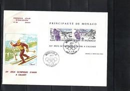 Monaco 1988 Olympic Games Calgary Block FDC - Winter 1988: Calgary