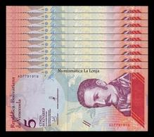 Venezuela Lot Bundle 10 Banknotes 5 Bolívares 2018 Pick 102 SC UNC - Venezuela
