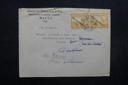 MALTE - Enveloppe Commerciale De Valletta Pour La France En 1953, Affranchissement Plaisant  - L 32029 - Malta (...-1964)