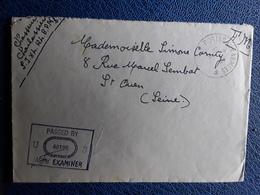 Lettre Guerre FM POSTE AUX ARMEES Censure US ARMY EXAMINER 40198, SP 84 124 BPM> Marraine St Ouen,mars 1945 - WW II