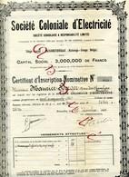 Société Coloniale D'Électricité - Certificat D'Inscription - Electricité & Gaz
