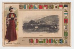 OR198 - SION - WALLIS - VALAIS - Illustration Et Différents Drapeaux  Des Cantons Suisse - VS Valais