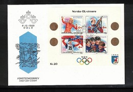 Norway 1989 Norwegian Gold Medals At Olympic Games FDC - Olympische Spiele