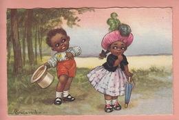 OLD POSTCARD ARTIST SIGNED  -  COLOMBO - CHILDREN - BLACK AMERICANA - Colombo, E.