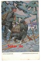 """AK Künstlerkarte Und Feldpostkarte, Signiert Otto Flechtner, Schneeschuh-Patrouille, """"Jugend""""-Postkarte - Otros Ilustradores"""