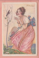 OLD POSTCARD ARTIST SIGNED  -  MAUZAN - DECO WOMAN WITH SINGING BIRD - Mauzan, L.A.