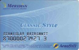Ukraine, Meridian, Aerosvit Ukrainian Airlines Magnetic Card - Moteurs