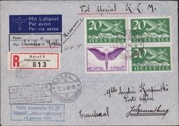 279 – Svizzera Tre Aerogrammi Relativi A Voli Speciali Tra Cui Napoli – Johannesburg. SPL - Posta Aerea