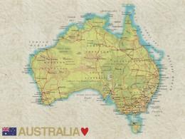 AUSTRALIA , MAP POSTCARD - Landkarten