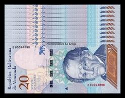 Venezuela Lot Bundle 10 Banknotes 20 Bolívares 2018 Pick 104 SC UNC - Venezuela