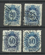 UNGARN HUNGARY 1874 Telegraphmarke Michel 13 - 16 O - Telegraphenmarken
