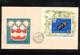 Romania 1976 Olympic Games Innsbruck Michel Block 128 FDC - Winter 1976: Innsbruck
