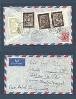 AFGHANISTAN. 1964 (27 Dec) Kabul - Austria Zellan See (2 Jan 65) Airmail Reverse Multifkd Envelope + Taxed 30gr. Ausria - Afghanistan