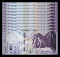 Venezuela Lot Bundle 10 Banknotes 1000 Bolívares 2017 Pick 95b SC UNC - Venezuela