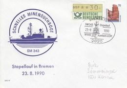PU 319/16  Schnelle Minensuchboot SM 343 - Stapellauf In Bremen 199o, Bremen 70 - BRD