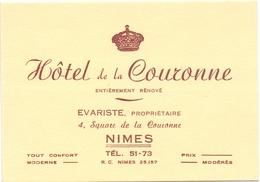 Carte Pub Reclame - Hotel De La Couronne - Nimes - Cartes De Visite