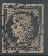 Lot N°48976  Variété/n°3, Oblit Grille à Déchiffrer, Belles Marges, Léger Clair, Bel Aspect. Points Blancs Sous Les Perl - 1849-1850 Cérès