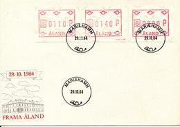 Aland FDC Mariehamn 29-10-1984 Set Of 3 FRAMA Labels With Cachet - Aland