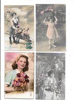 11174 - Lot 200 CPA Fantaisies, Femmes, Enfants, Quelques Fleurs - 100 - 499 Cartes