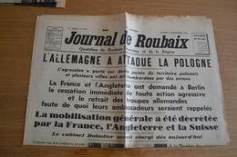 Ancien Journal De Roubaix - 2/9/39 - Début Seconde Guerre Mondiale ! - Other