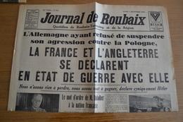 Ancien Journal De Roubaix - 4/9/39 - DECLARATION DE GUERRE !!! - Journaux - Quotidiens